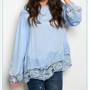 Tops - Blue crochet trim length my sleeves blouse